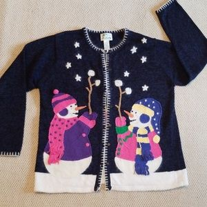 Quackers Factory Christmas Cardigan Sweater Size L